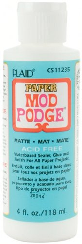 Mod Podge Waterbase Sealer, Glue and Finish for Paper (4-Ounce), CS11235 Matte Finish Plaid Inc top coat craft adhesive