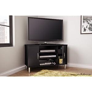 South Shore Renta Corner TV Stand, Pure Black