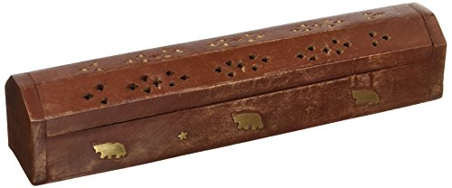 (SouvNear 11.8 Inch Wooden Incense Stick Burner Coffin Incense Burner Cone Holder with Storage Compartment Regal Hand Carved Brass Inlay Elephant)