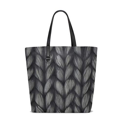 (WJJSXKA Women Weave Plait Black White Texture Pattern Handle Satchel Handbags Shoulder Bag Tote Purse Messenger Bags)