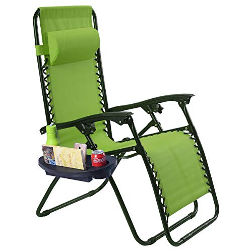 Goplus Folding Zero Gravity Reclining Lounge Chairs Outdoor Beach Patio W/Utility Tray (Green)