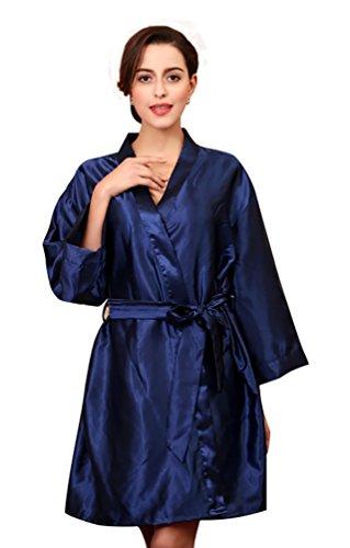 sera abito pigiama accappatoio donna cintura marino manica estivo NiSeng satin Blu lunga da seta HPzwpq1x