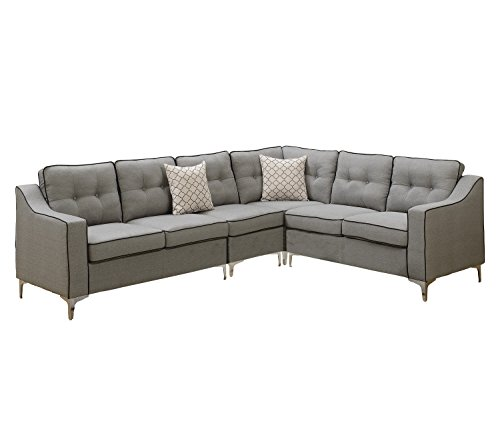 Poundex F6888 Bobkona Adalia Sectional Set, Light Grey - 3-Seater can be on the right or left side Seat Cushion Filled with foam and inner Spring for durability and comfort Interlocking insert to keep all pieces together - sofas-couches, living-room-furniture, living-room - 4174TjkUzHL -