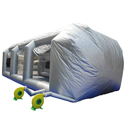 (SAYOK Inflatable Paint Booth 33x16.4x11.5ft with 2 Blowers Inflatable Spray Booth with Filter System Portable Car Paint Booth for Car/Door Parking Tent Workstation(Silver))