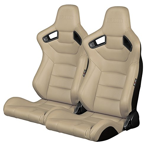BRAUM -Beige Leatherette Carbon Fiber Mixed Universal Racing Seats -Pair ()