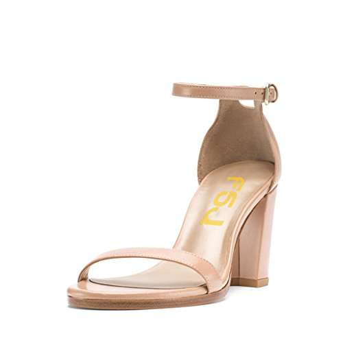 Heels FSJ Open Size Toe Fashion Women Straps Chunky 15 Shoes Ankle US with for Sandals Nude Dress 4 H8t8Bxn