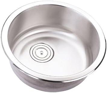 18 Inch Stainless Steel Undermount Single Bowl Kitchen Bar Prep Sink Round 18 Gauge Amazon Com
