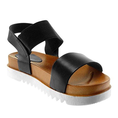 Mode Élastique Talon Sandale Noir 4 Lanière Femme Cm Cheville Semelle Basket Angkorly Chaussure Compensé BA5wUxq1