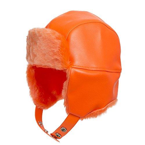 Leather Pilot Cap - Street Trooper Ushanka Aviator Pilot Faux Leather Ski Trapper Hat Orange 7 5/8
