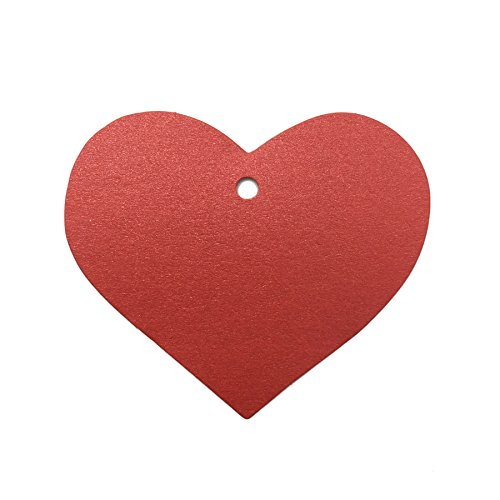 "LWR Crafts 100 Hang Tags Heart with Jute Twines 100ft (2 3/8"" x 2 3/16"", Bling Red)"