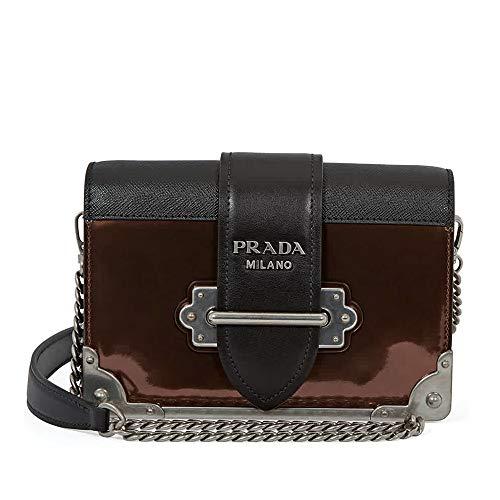 Prada Cahier Leather Crossbody Bag- Black/Brown