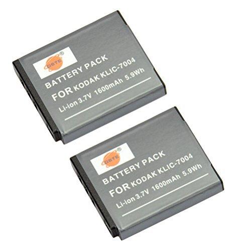 Klic 7004 Replacement Battery (DSTE 2x KLIC-7004 Replacement Li-ion Battery for Kodak EasyShare M2008 V1273 V1233 V1253 Zi8 Zi12 PlayFull Dual PlaySport PlayTouch Pentax Q7 Q10 Q-S1 Ricoh WG-M2 Camera as NP-50 D-li68)