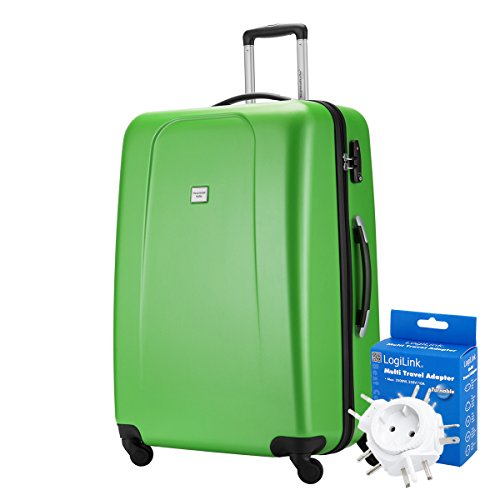 HAUPTSTADTKOFFER® 103 Liter XL Reisekoffer · WEDDING · TSA · MATT · (in versch. Farben) + REISEADAPTER (Weiss) Apfelgrün