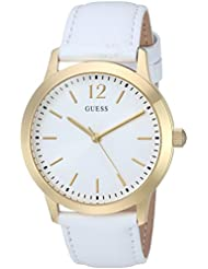 GUESS Womens Quartz Stainless Steel and Leather Casual Watch, Color:White (Model: U0922G9)