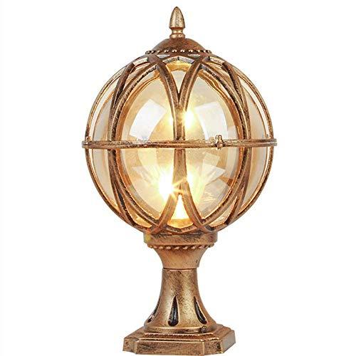 H-deng Outdoor Waterproof Pillar Light, Globe Glass Ball E27 Garden Column Lamp European Antique IP54 Die-cast Aluminum Post Light Courtyard Path Door Landscape Decorative,LB