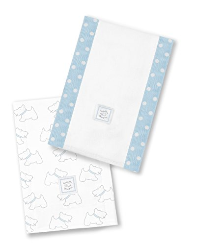 SwaddleDesigns Baby Burpies, Set of 2 Cotton Burp Cloths, Pastel Blue Little Doggie by SwaddleDesigns