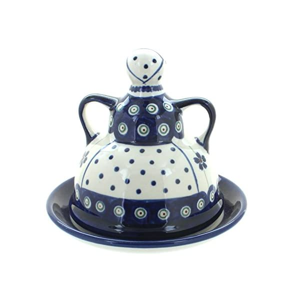 Blue Rose Polish Pottery Flowering Peacock Small Cheese Lady