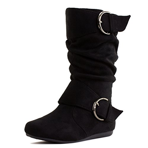 Girls Faux Suede Boots (Generation19 Girls Faux Suede Two Buckle Mid Calf Boots, Black, 9 M US Toddler)