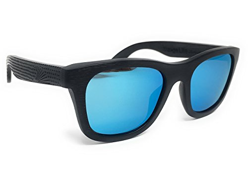Patriot Shades Wayfarer Sunglasses by Sunga Life Polarized & Floating American Flag Bamboo Wood Sunglasses (BLACK AQUA)
