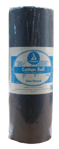 Dynarex Cotton Roll, Non-Sterile, 25 Rolls in a Polybag or 1 LB by Dynarex