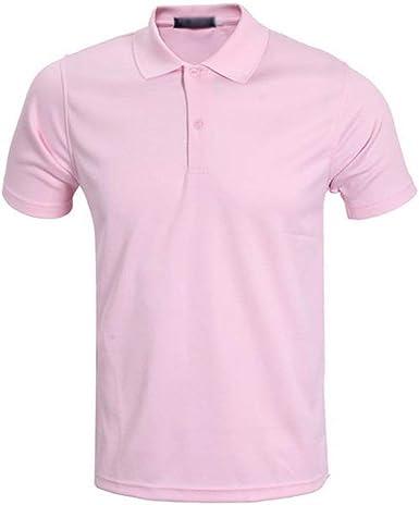 Polo De Los Hombres Camisa De Polo De Mode De De Golf Marca Manga Corta De Verano Solapa Camiseta Camisa De Deporte De Los Polos De Color Rosa De Moda Casual: Amazon.es: