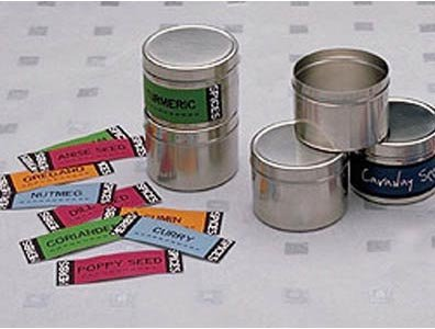 """4 Mini Storage Cans (Stainless Steel) (A - 1.75""""h x 2.5""""dia.)"""