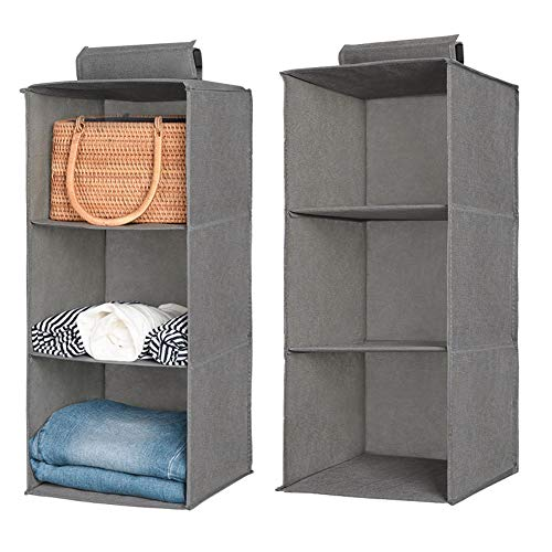 Aoolife Closet Hanging Shelves Organizer,Linen Cloth,Light and Breathable Collapsible Hanging Closet Organizer for Sock, Clothes, Bra, Toys and More (3 Shelf- 2 Pack) ()