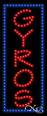 11x27x1 inches Gyros Animated Flashing LED Window Sign