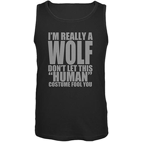 [Halloween Human Wolf Costume Black Adult Tank Top - X-Large] (Human Wolf Costume)