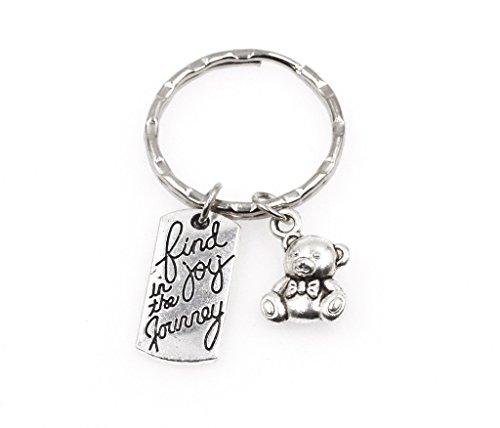 Find Joy in the Journey Baby Shower Teddy Bear Keychain -