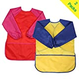 Kids Toddler Art Smock with Long Sleeves Waterproof Play Apron for Painting, Baking, Cooking, Home and School (Pack of 2) (Yellow&Red, M Size)
