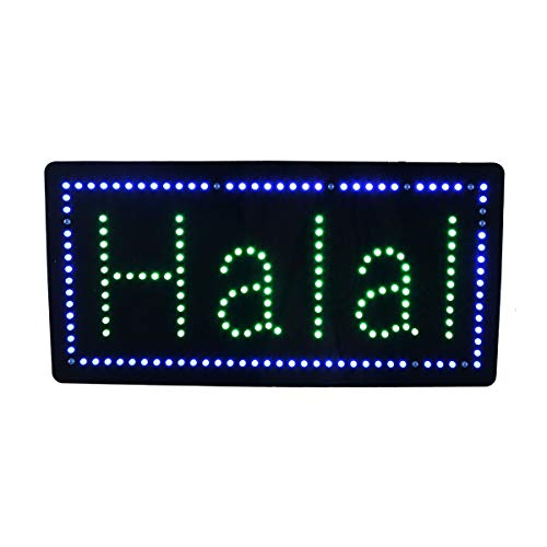 LED Halal Sign, Super Bright LED Open Sign Electronic Billboard Bright Advertising Board Flashing Window Display Sign, Store Sign, Business Sign, 24 x 12 inches (Billboard Electronic)