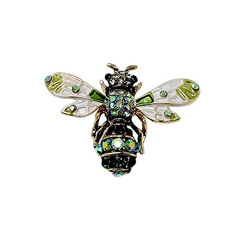JewelryNanny Crystal Bee Brooch Pin or Pendant Dual Use for Women Green