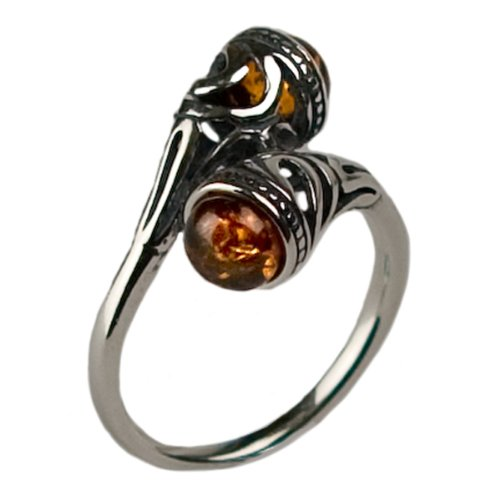 Honey Amber and Sterling Silver Celtic Ring