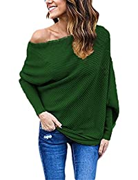 Off Shoulder Loose Pullover Sweater For Women Batwing Sleeve