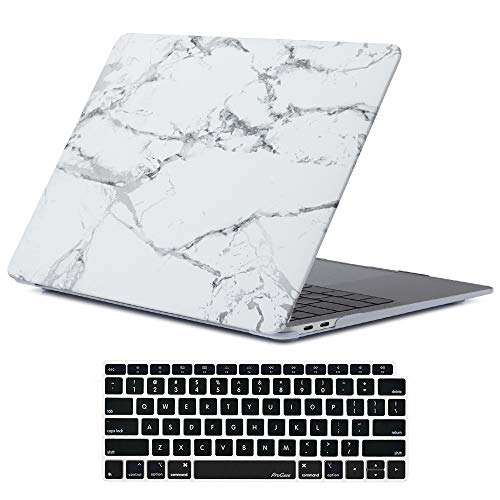 ProCase MacBook Air 13 Inch Case 2018 Release A1932, Hard Shell Case Cover for MacBook Air 13-inch Model A1932 with Keyboard Skin Cover -Whitemarble