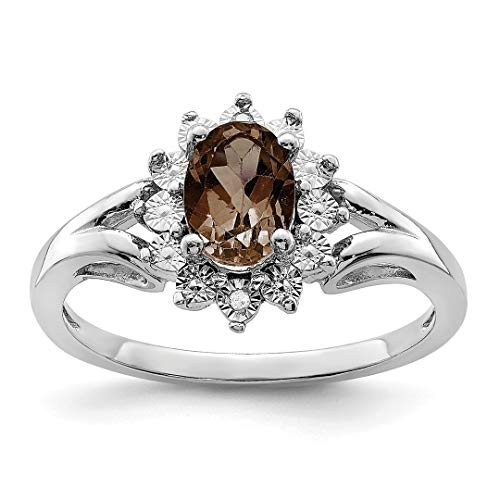 925 Sterling Silver Diamond Smoky Quartz Band Ring Size 8.00 Gemstone Fine Jewelry For Women Gift Set -