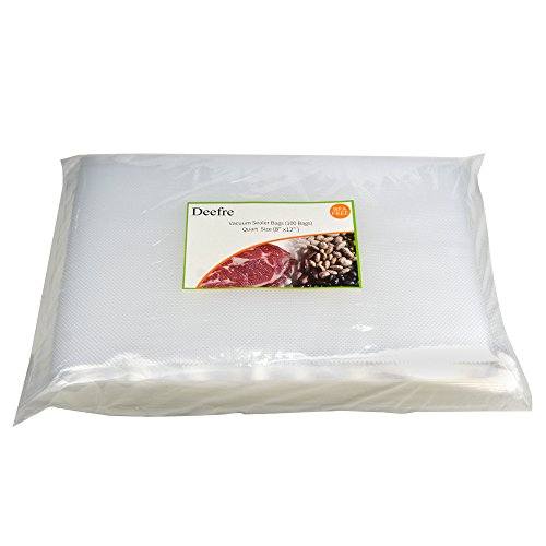 Vacuum Sealer Bags Sous Vide Bags Vacuum Packaging Pouches - Deefre 4 mil Thickness Commercial Grade Food Sealer Bags for FoodSaver and Sous Vide BPA Free Fit All Sealers (100 Quart Bags 8