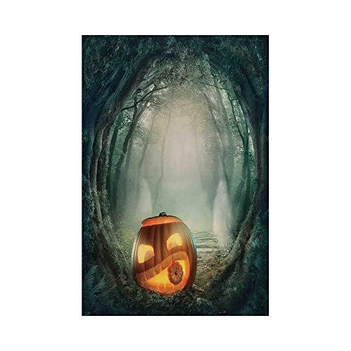 Polyester Garden Flag Outdoor Flag House Flag Banner,Halloween Decorations,Scary Halloween Pumpkin Enchanted Forest Mystic Twilight Party Art,Orange Teal,for Wedding Anniversary Home Outdoor Garden De]()