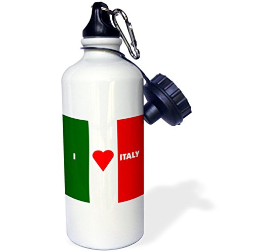 3dRose wb_55211_1 ''I Love Italy II'' Sports Water Bottle, 21 oz, White by 3dRose