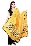 Thread Work Silk Dupatta Traditional Yellow Stole Chunni Scarf Hijab Neck Wrap For Women's