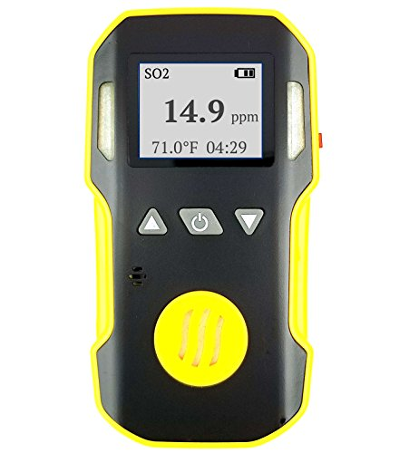 Sulfur Dioxide SO2 Detector by FORENSICS | ABS & Anti-slip Grip Rubber | Water, Dust & Explosion Proof | Li-ion Battery 1500mAh | Adjustable Sound, Light & Vibration Alarms | 0-20ppm SO2 |