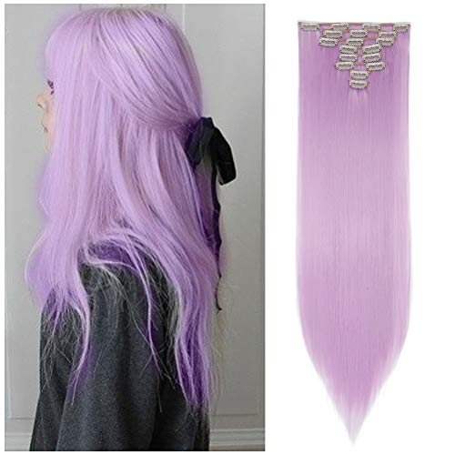 Light Purple Hair Extensions (8PCS Clip in Hair Extensions Straight Wavy Curly Full Head Women Colorful Highlight Ombre Hairpiece -26