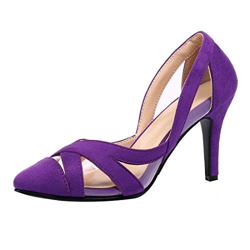 Pointu Confortables Violet Moyen Talons à Bout Nubuck Femmes Sandales Vernis et Stiletto avec Creux et Elegantes UH xFw0nIaqF