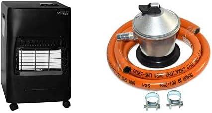 Kekai Kt0524 - Estufa De Gas 4200W 20 M² 42X38X73 Cm + S&M 321771 Regulador de Gas Butano Goma M + 2 Abraz, Gris/Naranja, 1,5 metros de tubo
