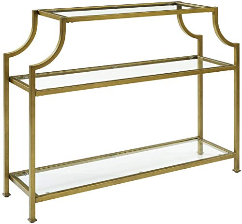 Crosley Furniture CF1307-GL Aimee Console Table, Gold and Glass