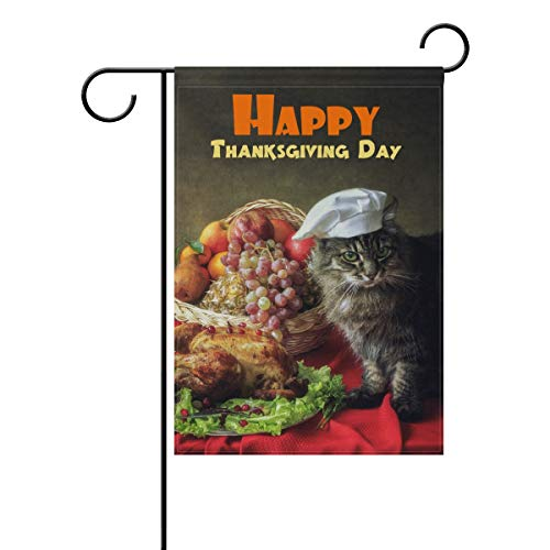 (Double Sided Lovely Animal Cat Autumn Harvest Happy Thanksgiving Day and Fall Yall Polyester Garden Flag Banner 12 x 18 Inch for Outdoor Home Garden Flower Pot Decor)