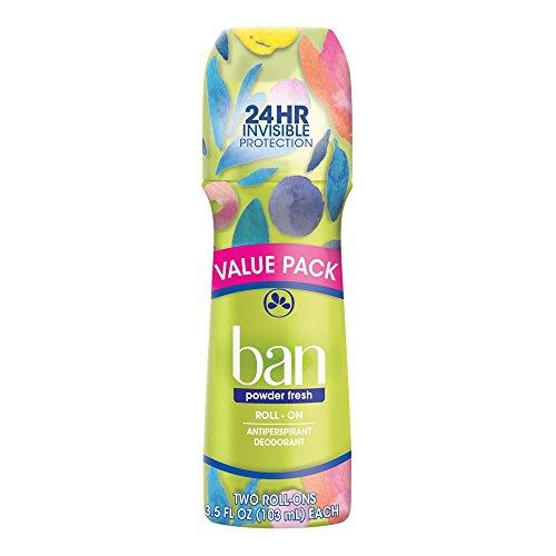 Anti Perspirant Deodorant Powder - Ban Roll-On Antiperspirant Deodorant, Powder Fresh, 3.5oz (Pack of 2)