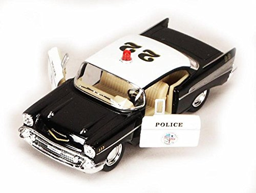 1957 Chevy Bel Air Police Car, Black - Kinsmart 5323D - 1/40 scale Diecast Model Toy Car (Brand New, but NO BOX)