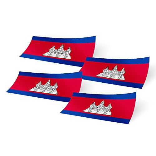 (Cambodia 4 Pack of 4 Inch Wide Country Flag Stickers Decal for Window Laptop Computer Vinyl Car Bumper Scrapbook Cambodian 4)